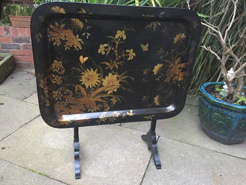 early c19th regency period papiermch tray mounted on a folding table stand