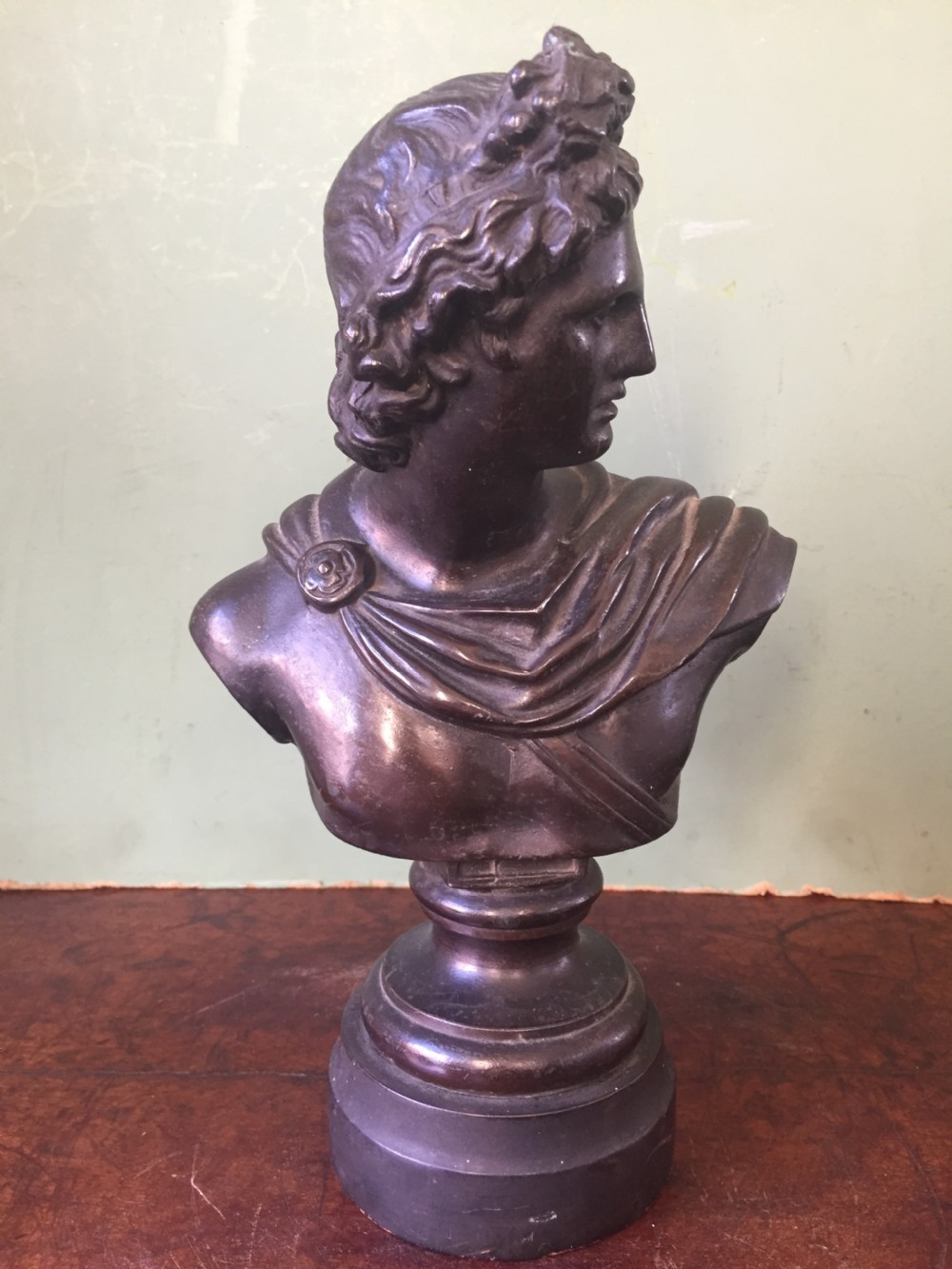 late c19th bronzed spelter metal desktop bust study of apollo belvedere