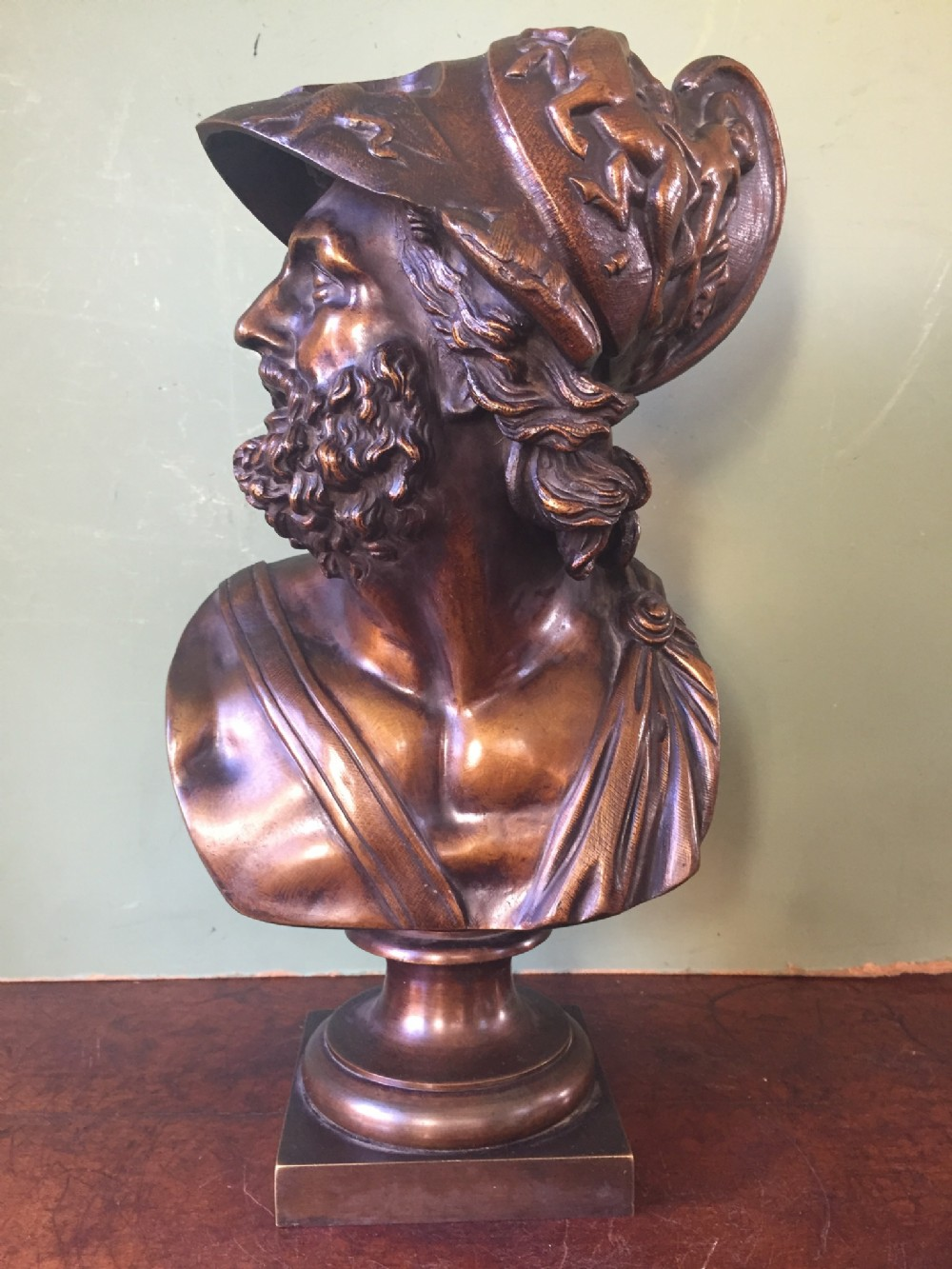 late c19th 'grand tour' souvenir bronze bust study of the mythological greek hero ajax