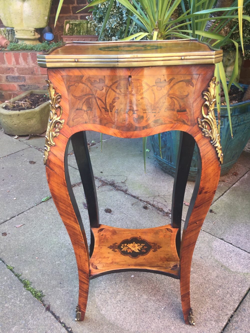c19th french walnut kingwood and marquetry ormolumounted side table or tricoteuse of louis xvi design