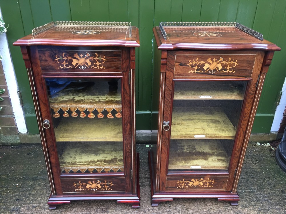 matching pair of highquality edwardian period inlaid figured rosewood music cabinets