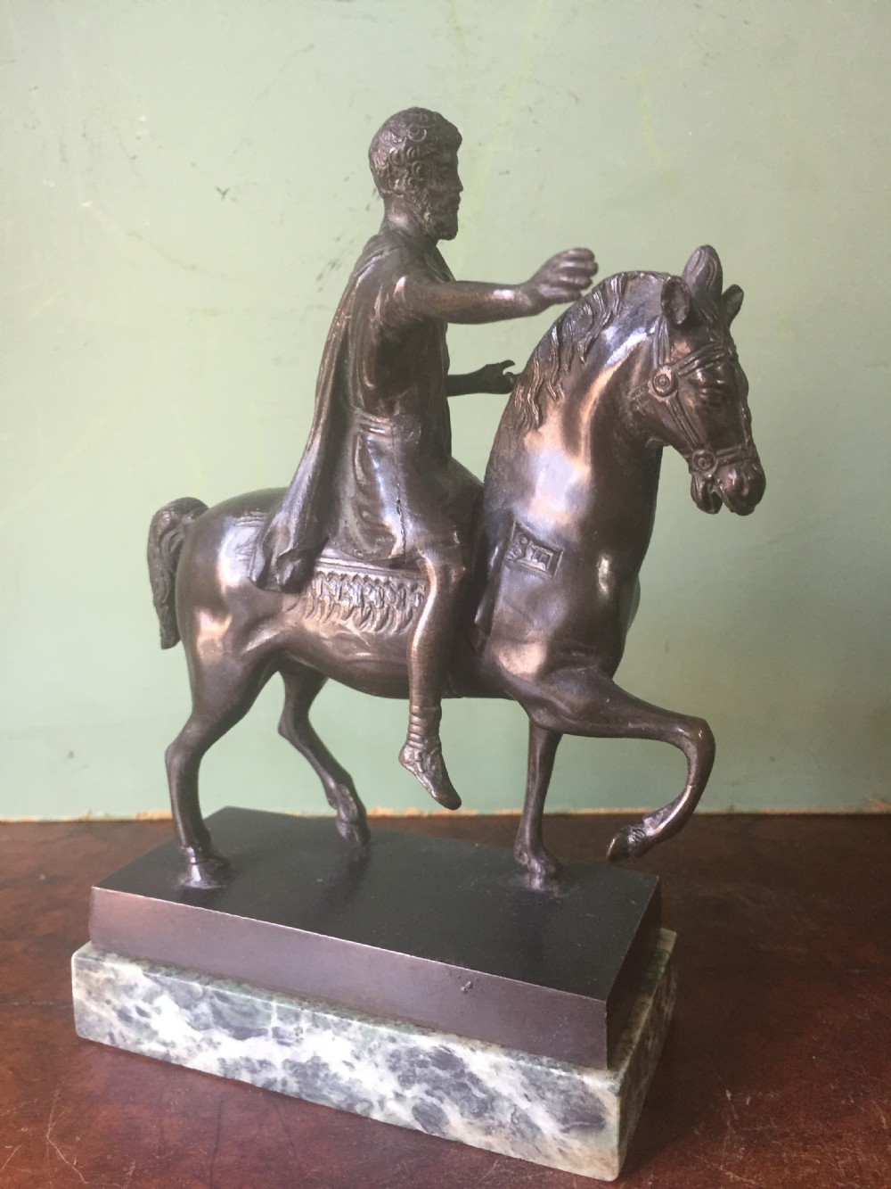 c19th italian bronze 'grand tour' souvenir reduction of the equestrian statue of emperor marcus aurelius