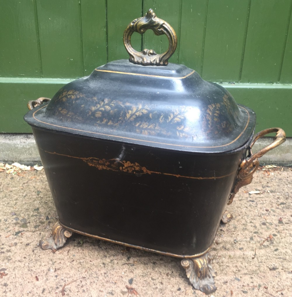 mid c19th english 'tolepeinte' japanned fireside coalbox or purdonium
