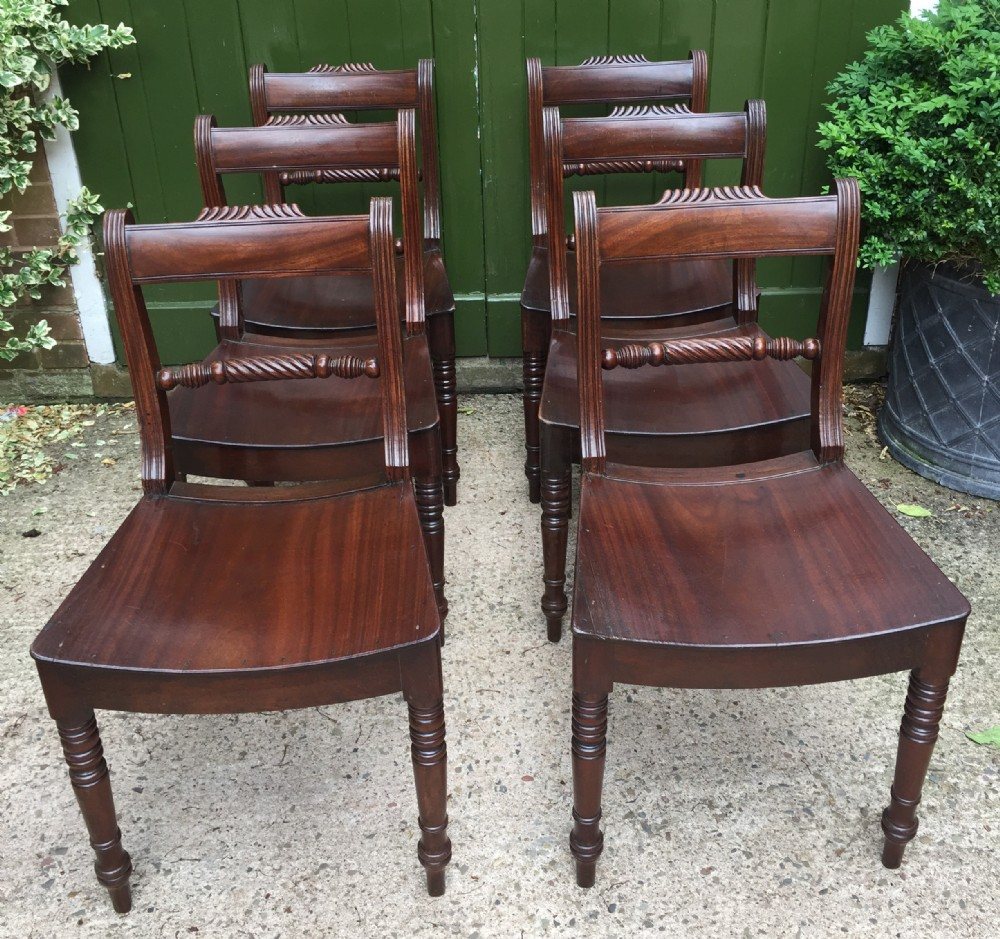 set of 6 early c19th regency period mahogany dining chairs