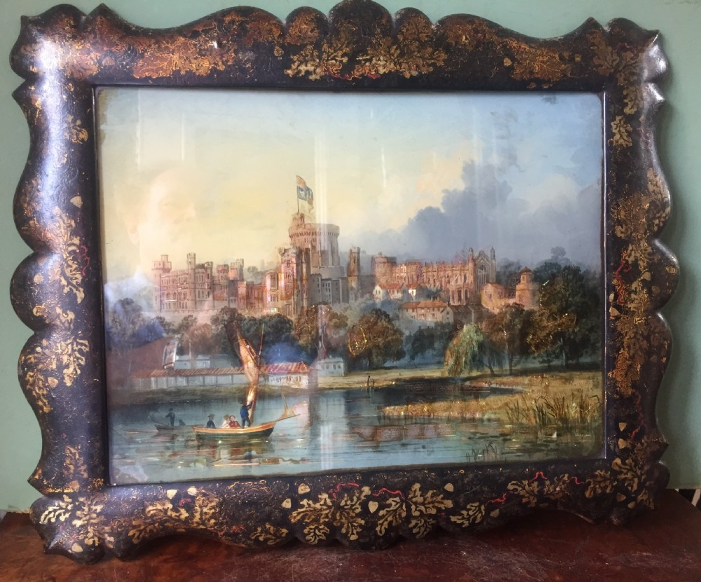 mid c19th victorian period reverseglass painted and pearl patent painting by thomas lane of windsor castle