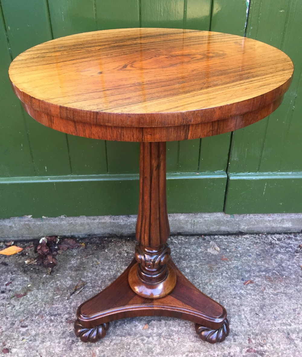 early c19th george iv period circular rosewood pedestal lamp wine or occasional table