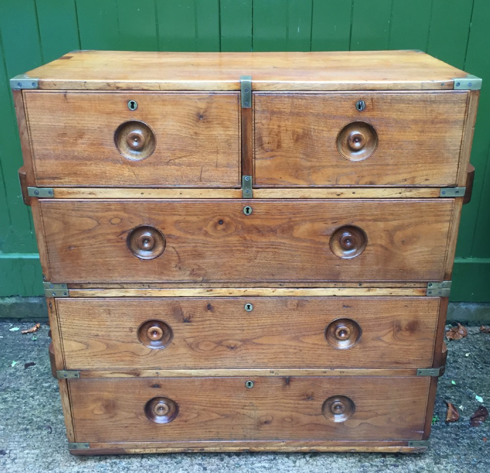 c19th naval officer's brassbound teak 2part campaign chest of drawers
