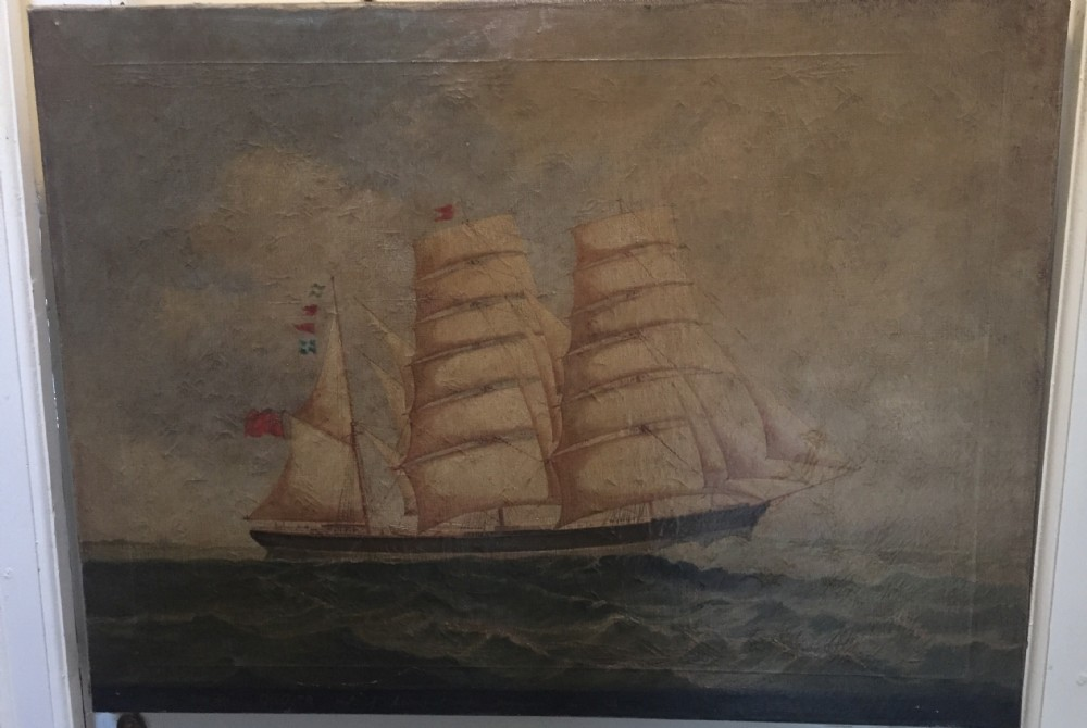 c19th signed marine oil painting on canvas study of a merchant or trading ship in full sail with interesting inscription