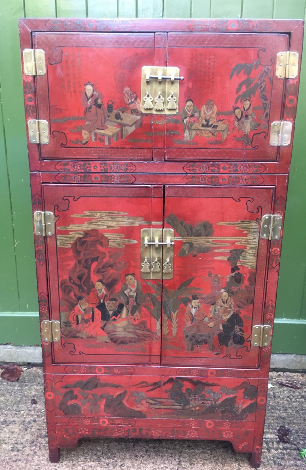 late c19thearly c20th chinese red lacquer decorated 4door cupboard or cabinet
