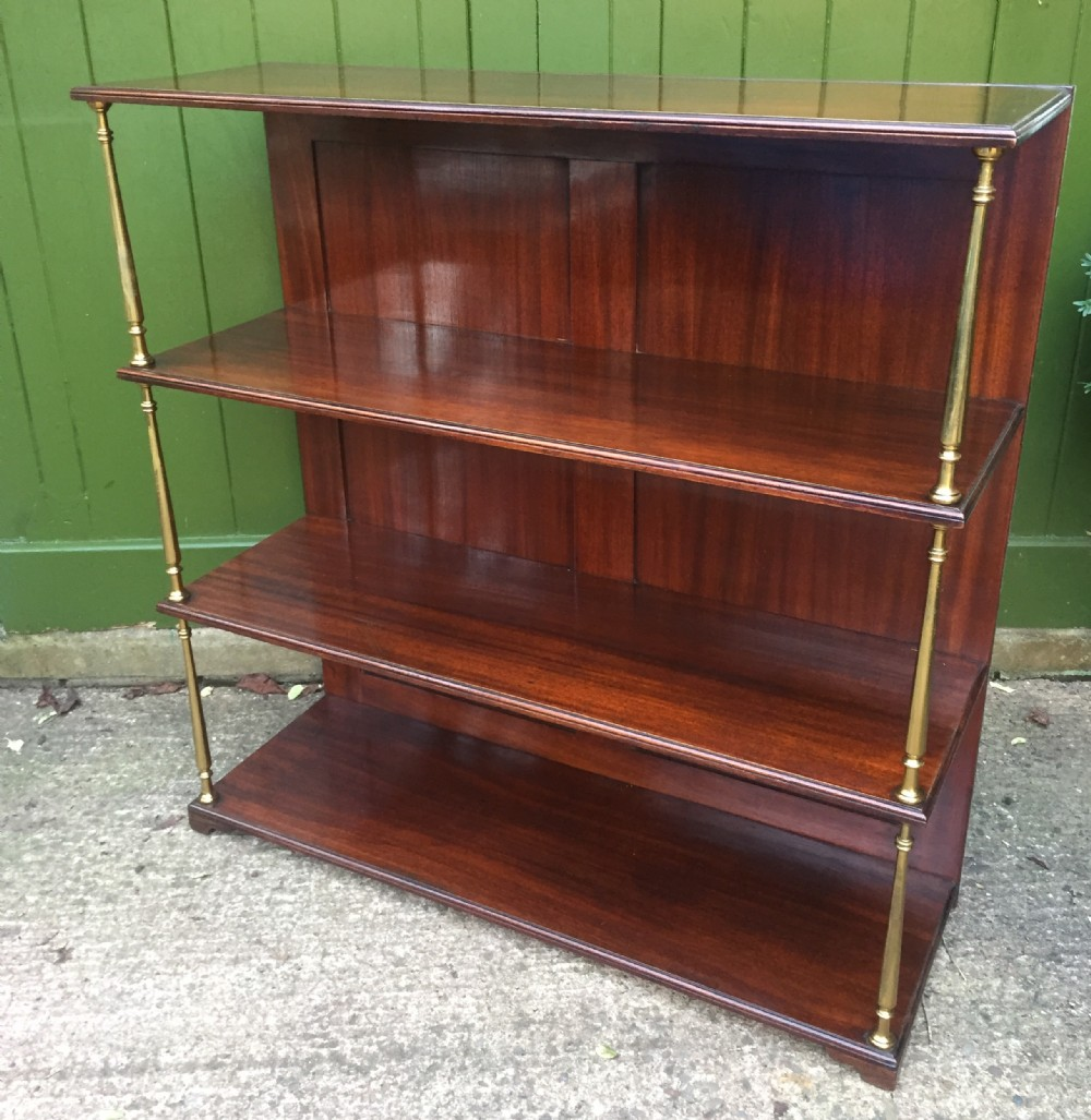 late c19th mahogany and brass column support 3tier open bookshelves or display stand