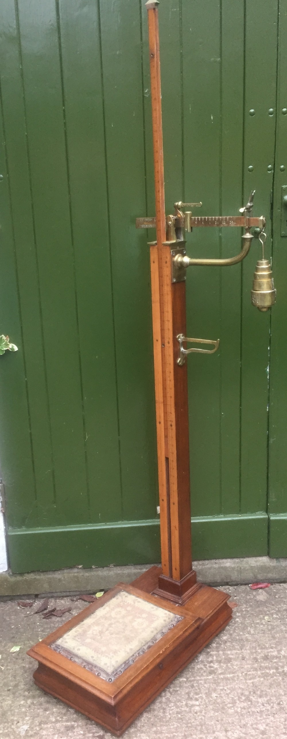 a set of late victorian or edwardian oak and brass floorstanding scales by w t avery ltd birmingham