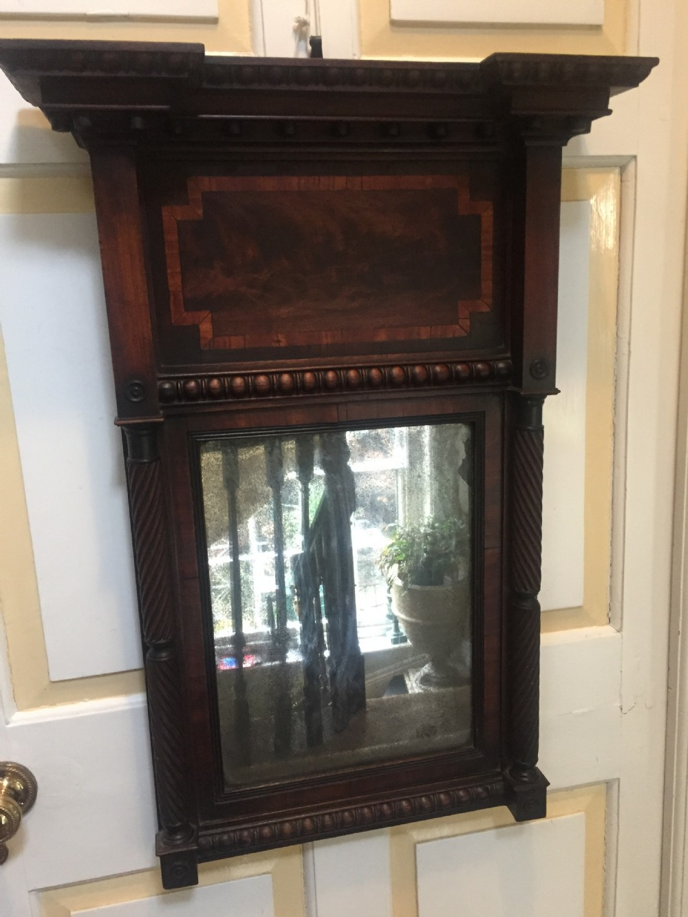 early c19th regency period mahogany framed pier mirror of architectural inspiration