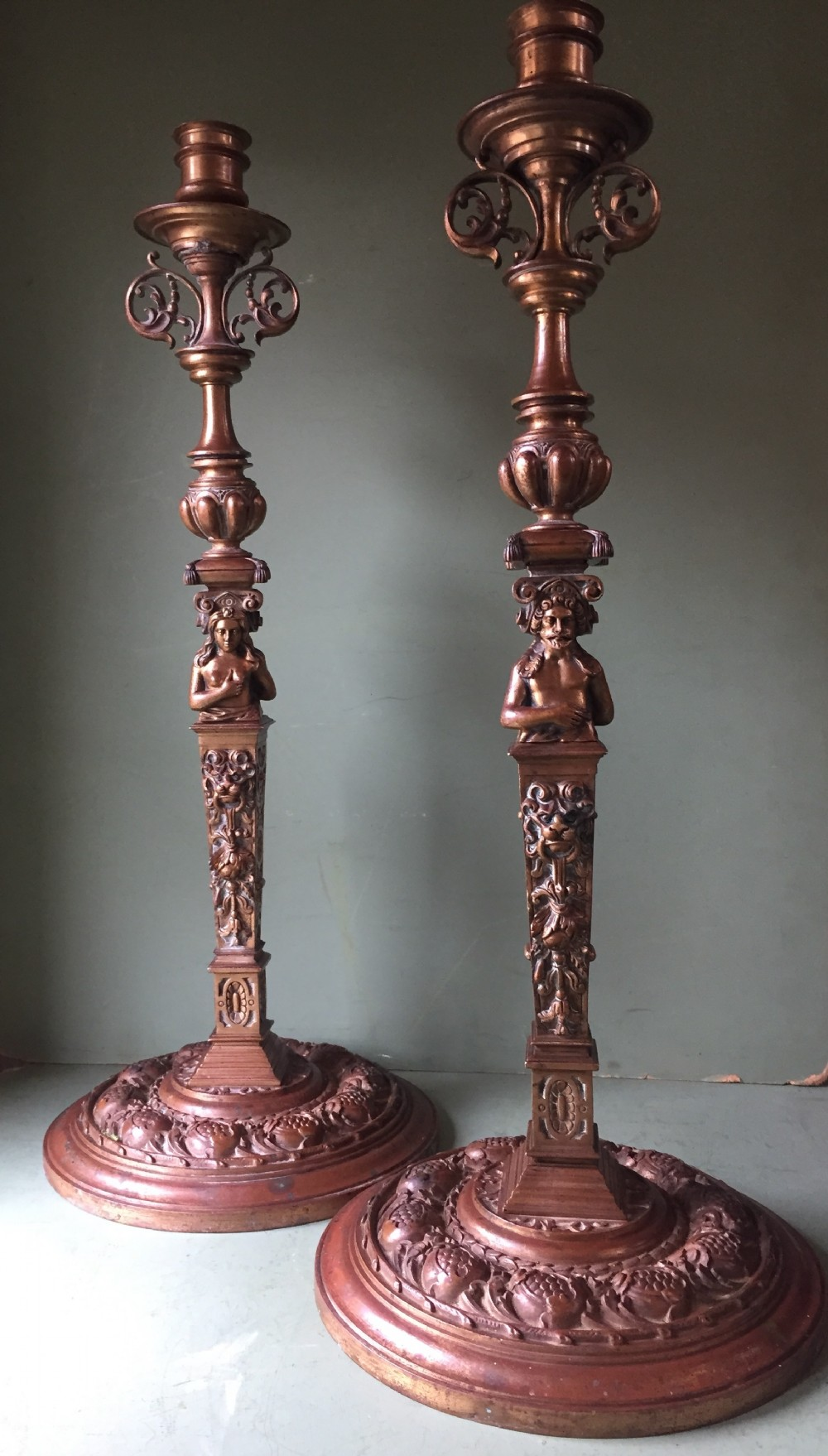 large pair of c19th cast bronze candlesticks in the mannerist late renaissance style