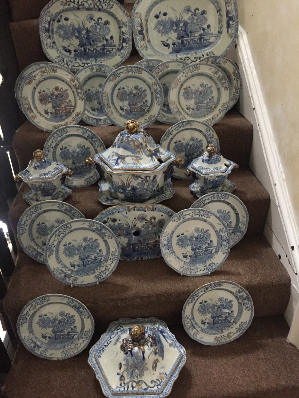highly decorative mid c19th mason's ironstone china part dinner service