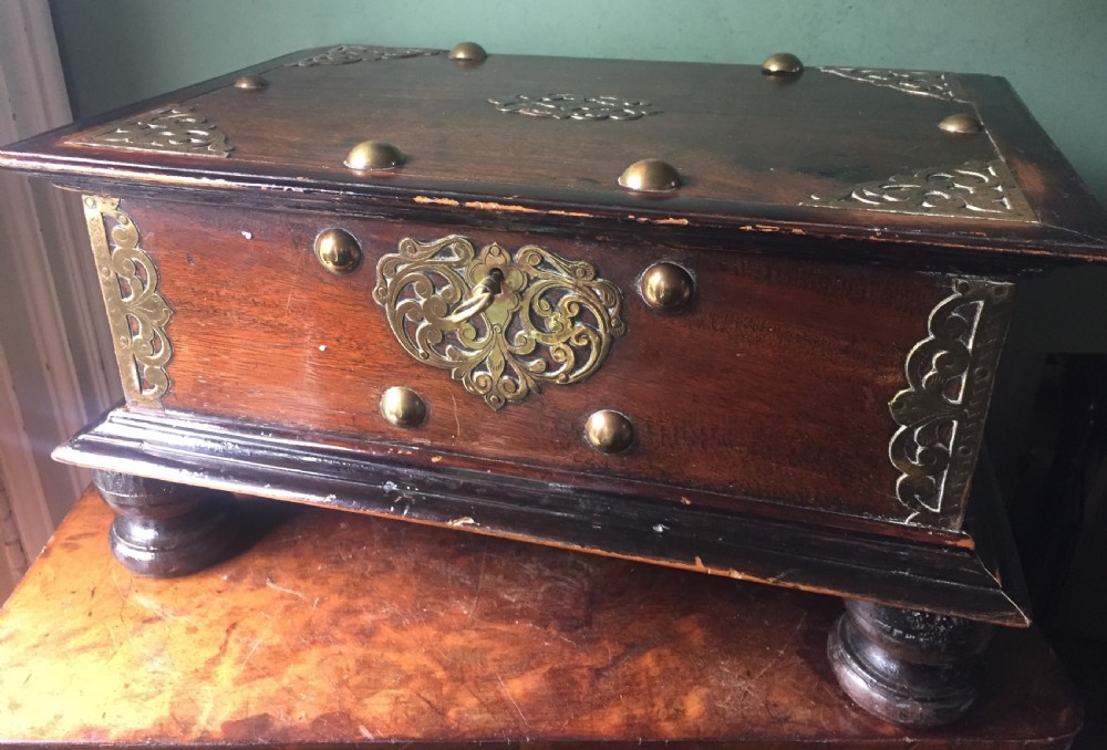 late c18th early c19th dutch east indies brassmounted hardwood table casket