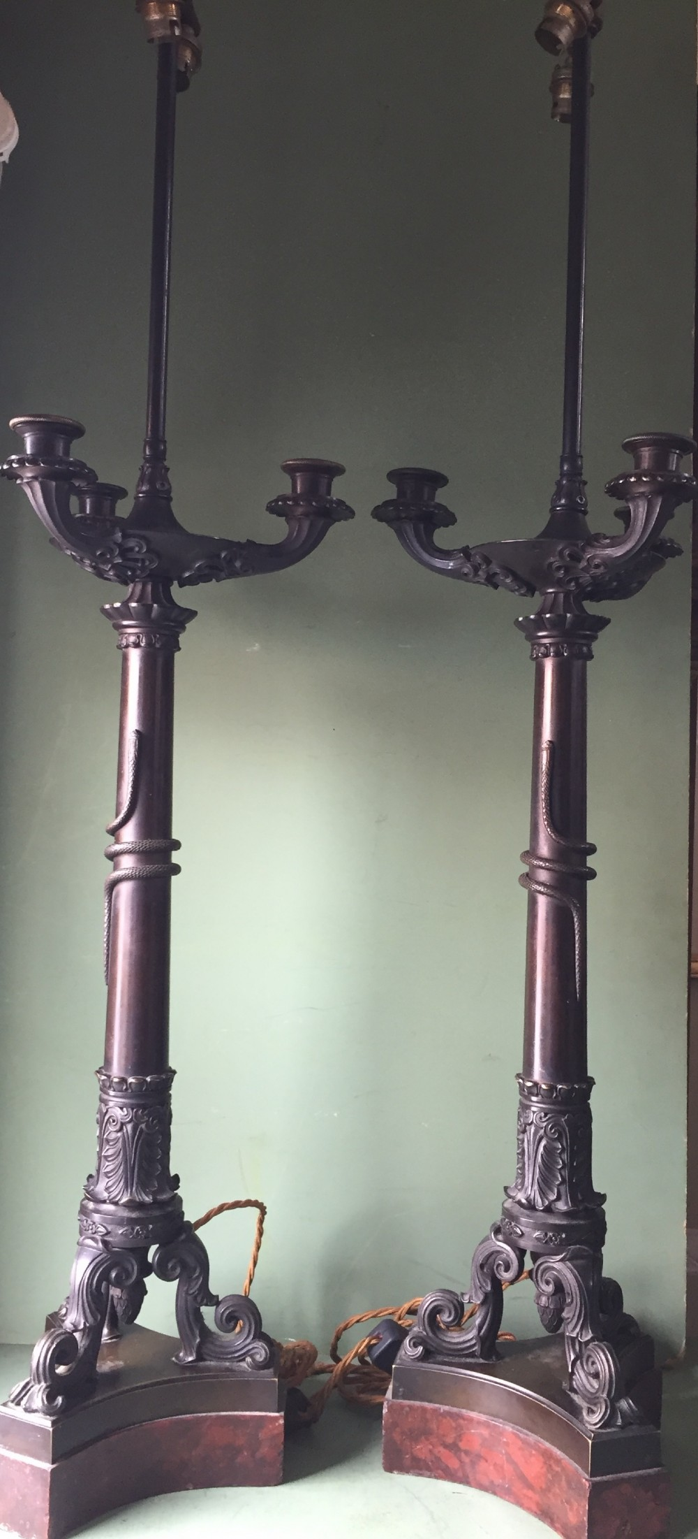 imposing pair of early c19th french charles x period bronze lamps on 'rouge griotte' marble bases