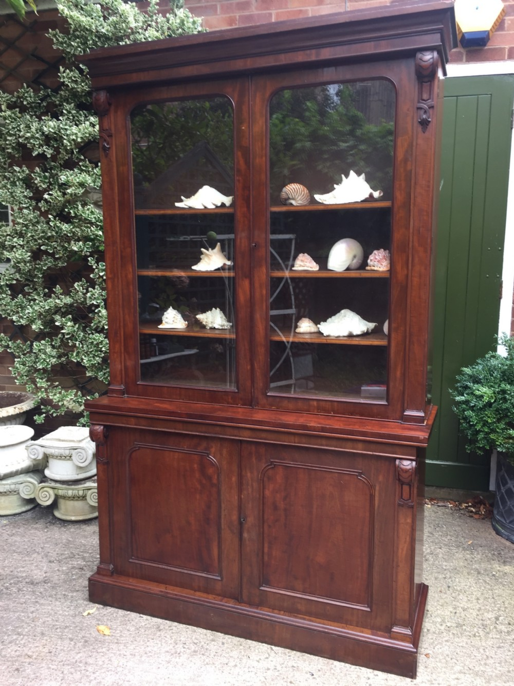 superior quality mid c19th mahogany library bookcase of broad proportions