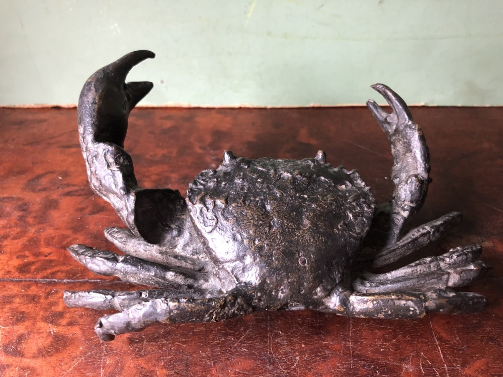 c19th northern italian bronze lifesize naturalistic study of a crab
