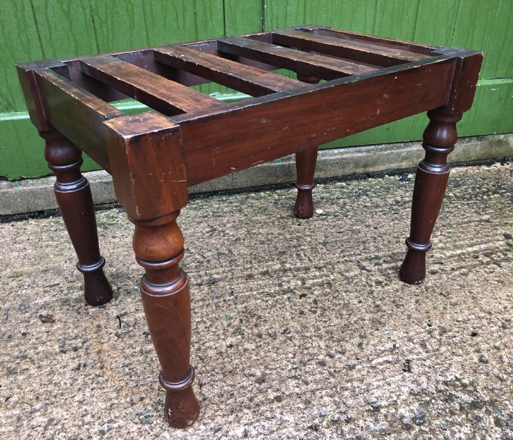 a late c19th mahogany luggage stand of robust construction